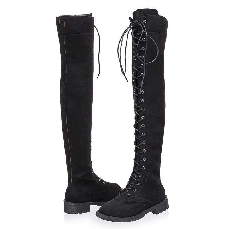 Yeni Tasarımcı Bayan Kare Düşük Topuk Sürme Motosiklet Topuk Diz Yüksek Çizmeler Punk Gotik Platform bağcıklı ayakkabı Boyutu 35-43 7317 W
