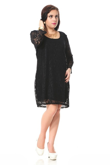Plus size lace dress women with hollow out design Full sleeve casual dress  Black party dress 3xl 7xl spring autumn -in Underwear from Mother & Kids on  ...