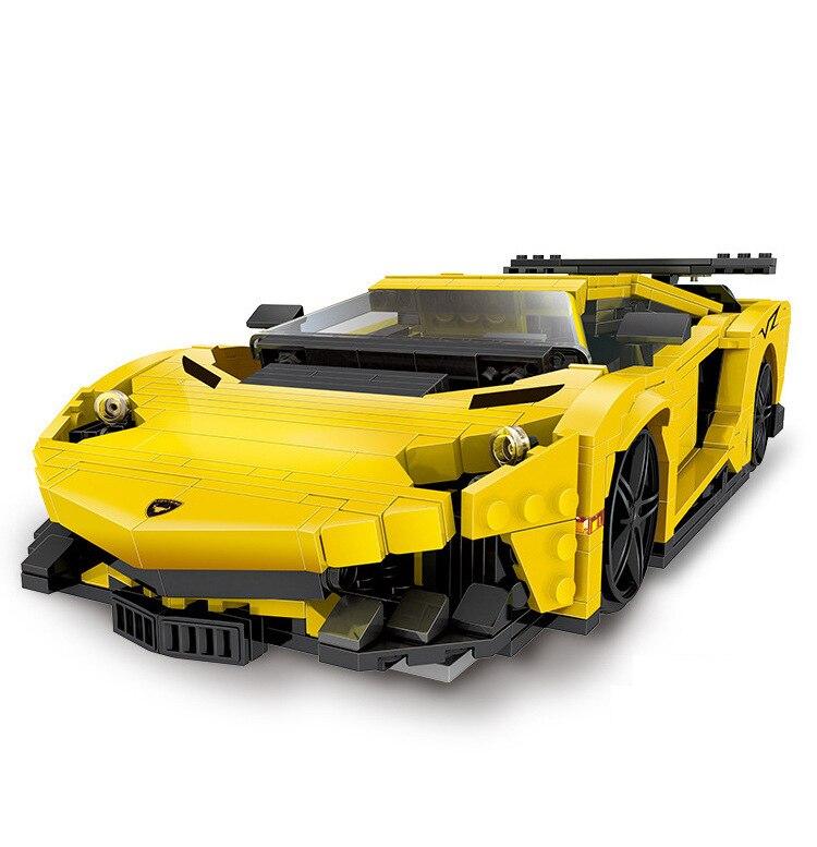 Simulation 1:15 scale Germany Bull logo Lambor Reventon Yellow lightning super sports cars moc block model bricks collection toy