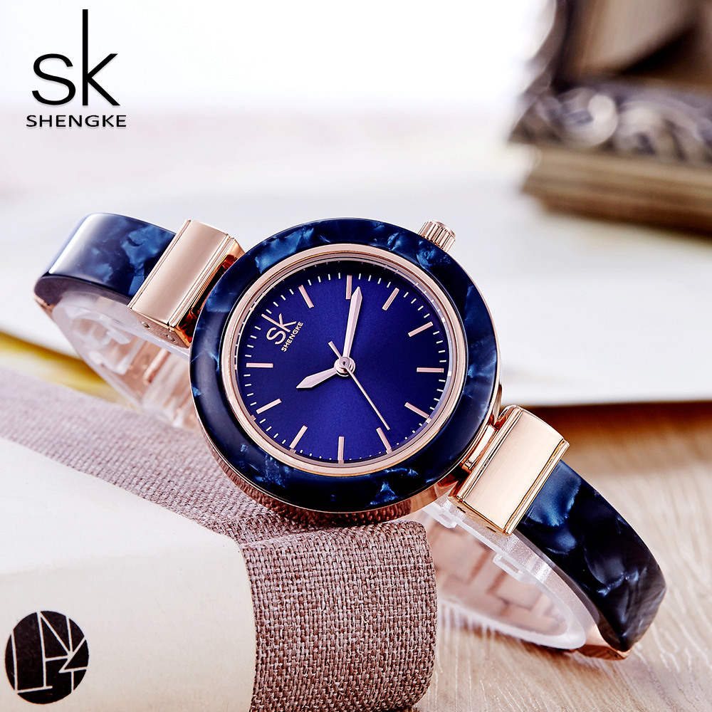 SHENGKE Women Dress Watch For Ladies Quartz Wrist Watches Female Clock Luxury Brand Women's Zegarki Damskie Horloges Vrouwen SK punk jewelry rome scale women watches quartz watch luxury brand genuine leather band bangle montre skull cat zegarki damskie