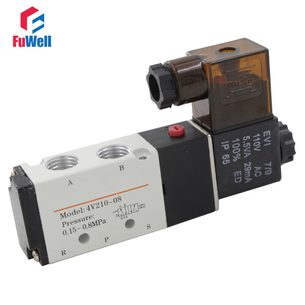 1/4 Air Valve DC 24V 4V210-08 DC 24V 2 Position 5 Way Pneumatic Solenoid Valve 5 way pilot solenoid valve sy3220 4d 01