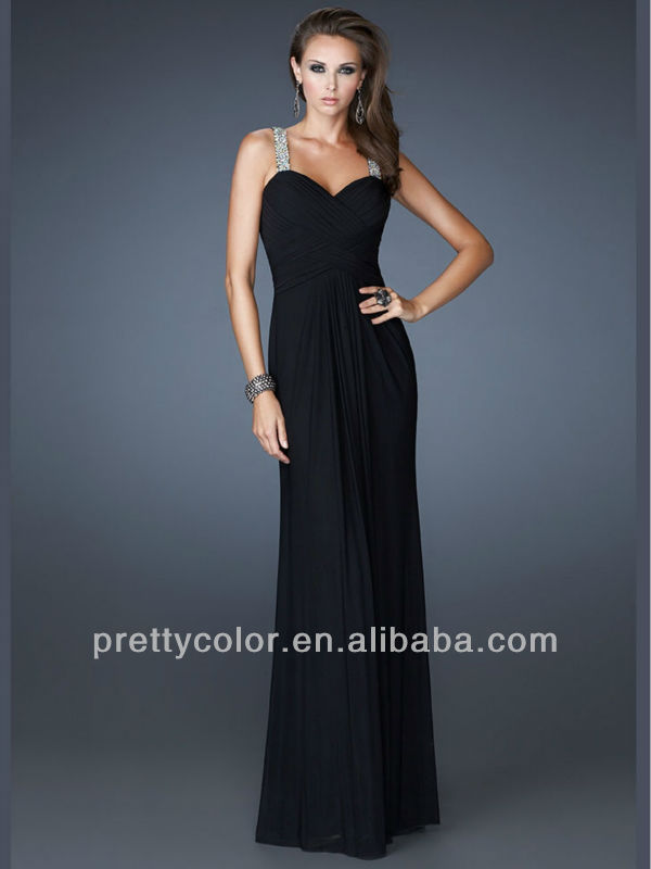 Tank Strap Floor Length Black Red Diamond Crystal Luxury Precious