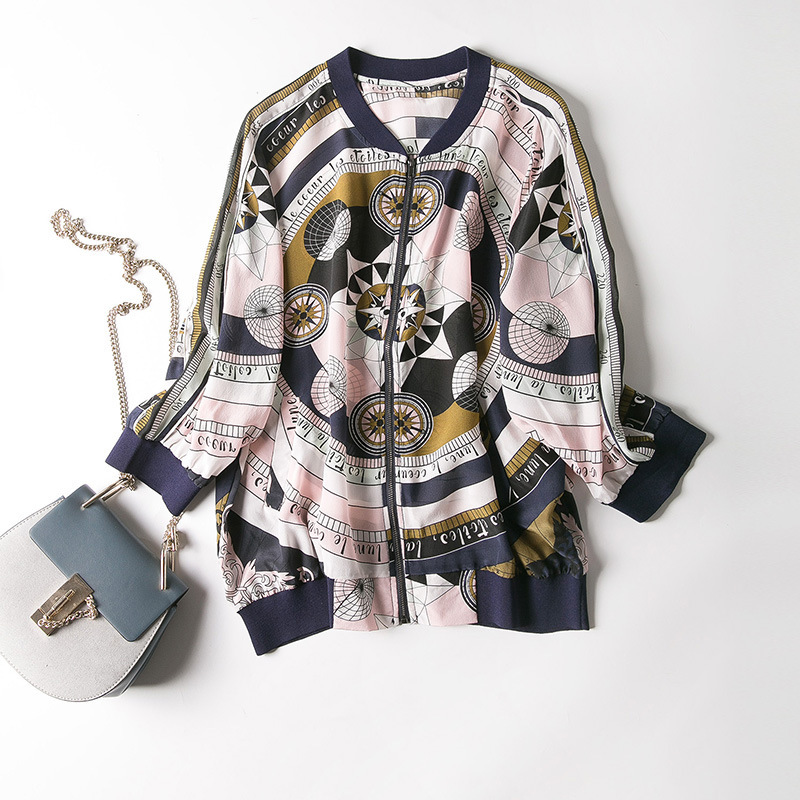 New baseball collar printed silk air conditioning cardigan is prevented bask in clothes