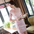 Новое Прибытие Розовый женская Кружева Мини Cheongsam Моды Китайский Короткие платье Элегантный Qipao Платье Размер S, M, L, XL, XXL 246152