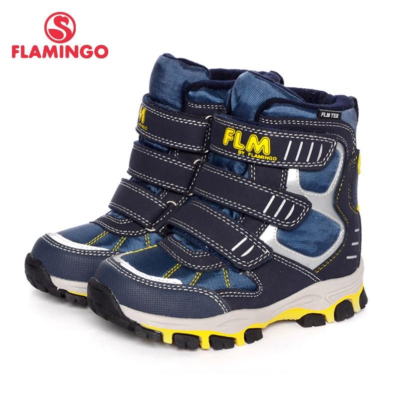 FLAMINGO Brand Fashion Keep Warm Wool Snow Boots Hook& Loop Anti-slip Arch Mid-Calf Size 26-30 Children Shoes For Boy W6YC022