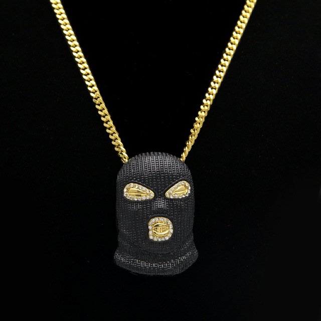 Gold color Men hip hop Super cool Black masked pendant necklace fashion novelty pendants necklaces mens hiphop jewelry gifts