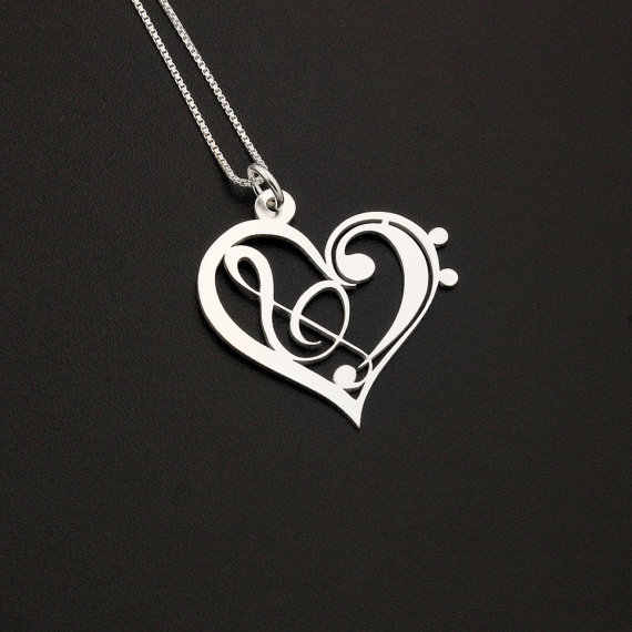 1Pcs stainless steel Heart Clef G clef bass clef heart Necklace music note Treble clef Pendant charm jewelry