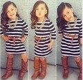 Nuevo otoño niñas visten 2015 de los bebés visten princesa partido de rayas niños de una sola pieza vestidos niña traje traje de ropa