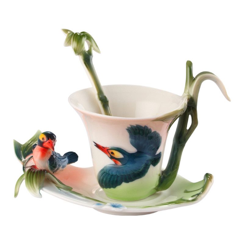 New Arrival Bamboo Birds Coffee Cups with spoon Milk Breakfast Cup with saucer 3D Bone China