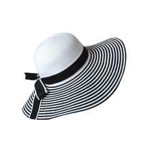 24a9becf Black White Stripe Bowknot Women Girl Summer Wide Brim Hat Large Brimmed Hat  Straw Braid Sunhat