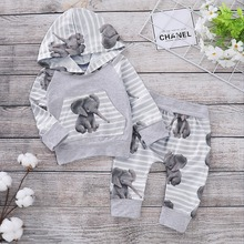 Baby Spring Clothes Sets Fashion Hooded Sweatershirt + Trouser Newborns Bebes 2PCS Outfits Elephant Infantil Boy Girl Tracksuits