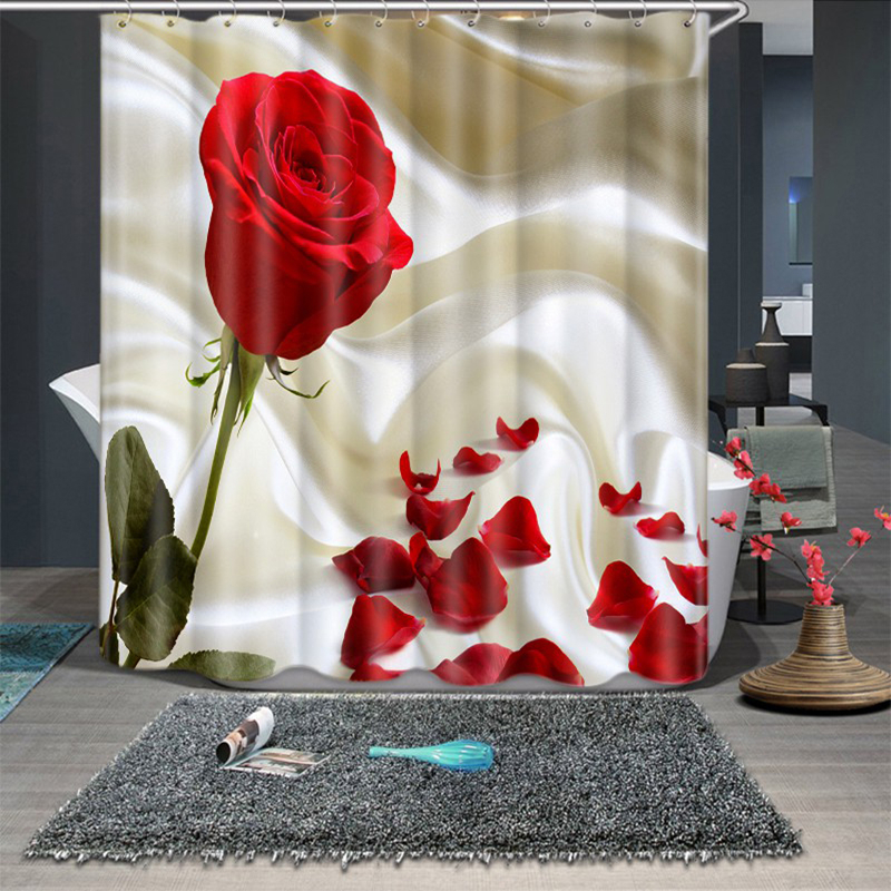 3d Red Rose And Diamond Pattern Shower Curtains Bathroom Curtain Thicken Waterproof Thickened Bath Curtain