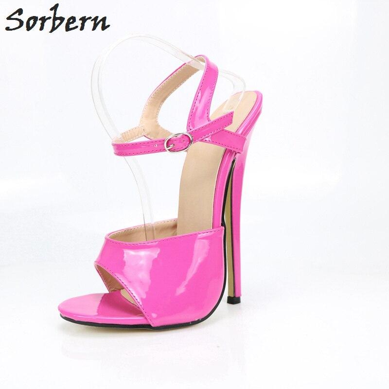 589e318da8c Sorbern Women Sandals Plus Size 36-46 Buckle Strap Spike Heels Peep Toe  Unisex Dance Women Shoes 18CM High Heel Ladies Sandals