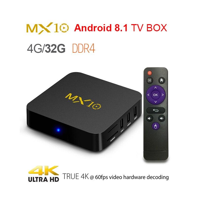 MX10 4 GB DDR4 64 GB eMMC Android 8,1 caja de TV RK3328 Quad Core 4 K HDR 2,4 GHz WIFI USB 3,0 Smart Set Top Box reproductor de medios PK MX9 PRO