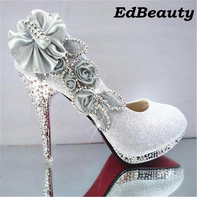 2017 Women High Heels Prom Wedding Shoes Lady Crystal Platforms Silver Glitter Rhinestone Bridal Thin