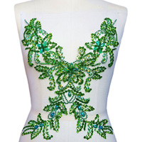 UNique Goddess Beaded Sew on Rhinestones Sequins Applique Crystals Patches Green wedding Emboridery bridal decorative for cloth