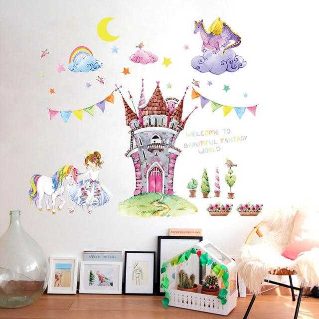 fairy tale world castle cartoon wall stickers beautiful princess