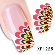 1 Sheet Fashion Water Transfer Nail Art Stickers Decal Colorful Orange Red Bird Feather Wing Design Manicure Tool