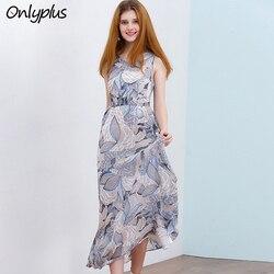 ONLY PLUS S-XXL Bohemian Beach Long Dress Sleeveless Dress Chiffon Print Casual O-Neck Summer Maxi Dress 2018 vestidos