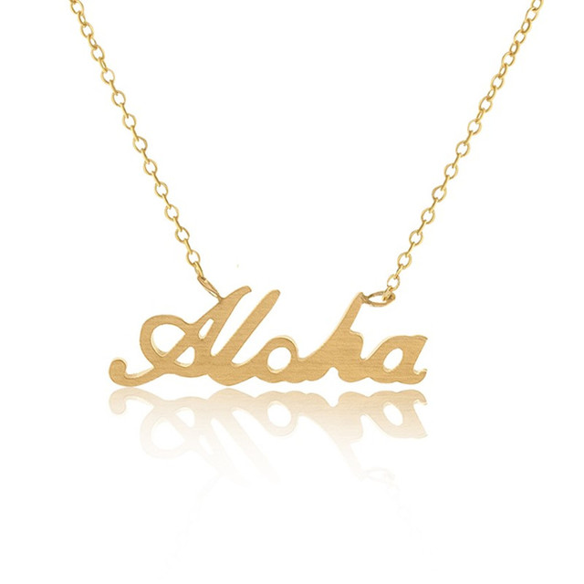 Stainless steel lettering aloha necklaces pendants gold silver chain stainless steel lettering aloha necklaces pendants gold silver chain charm choker hawaiian jewelry collare collier femme aloadofball Image collections