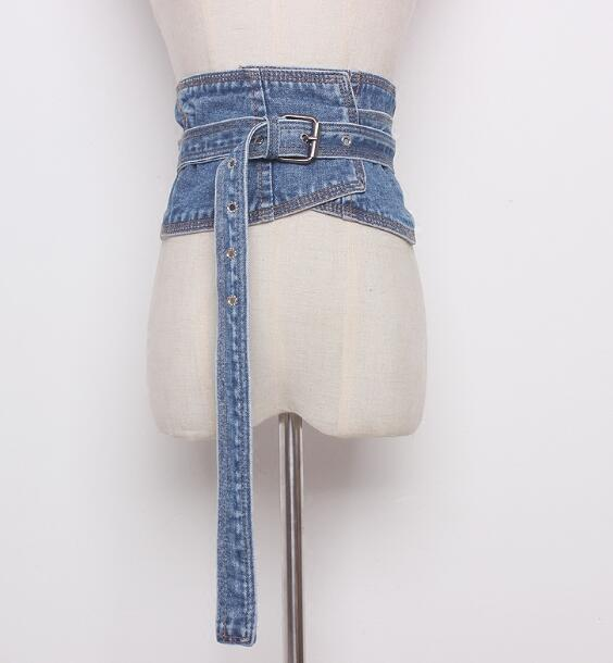 Women's Runway Fashion Denim Cummerbunds Female Korean Fashion Decoration Wide Belt R884