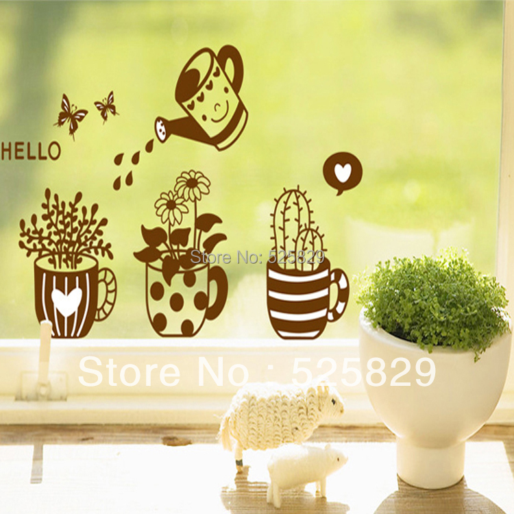 Window Glass Decoration Wall Stickers Potted Plant Removable Decorative Bathroom pvc Stickers
