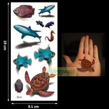 1PC Fashion Women Men Waterproof Temporary Tattoo Removable Simulation Vivid Body Art 3D-31 Turtle Shark Sea Horse Fish