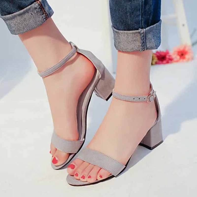 Summer Women Square Heel Sandals Roman Gladiator Fashion Wedding Shoes Sexy Suede Leather Sandals 2018 New High Heels sandals women summer suede female gladiator roman 6cm wedges shoes