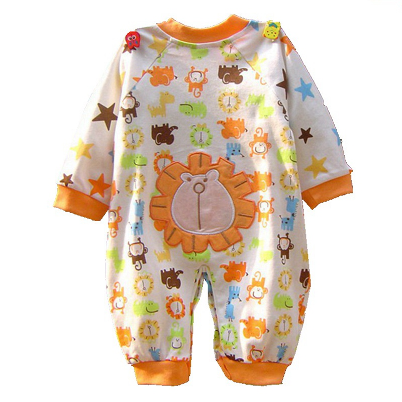 Orange Lion Forest Zoo Long Sleeve Baby Rompers Macacao Bebe Jumpsuit Overall Newborn Baby Boy Clothes Toddler Boys Clothing cotton baby rompers infant toddler jumpsuit lace collar short sleeve baby girl clothing newborn bebe overall clothes