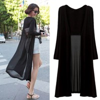 Maxi Cardigan Feminino Ankle Length Sweater Coat Women Knitted Long Sleeve Korean Vintage Black Oversized Sweaters