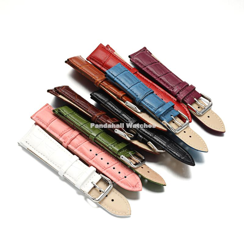 10 Sets/lot Leather Watch Bands, with 304 Stainless Steel Clasps, Mixed Color, 82~115x10~14mm