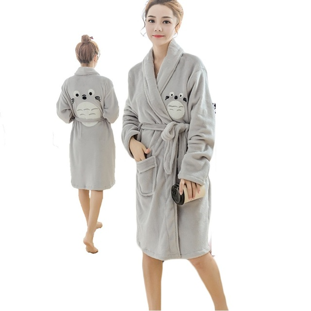 d42b7f7417 Totoro Bath Robe Hooded Robes For Women Dressing Gown Warm Bathrobe Coral  Fannel Bathrobe Ladies Robes Peignoir Femme Bain Robe