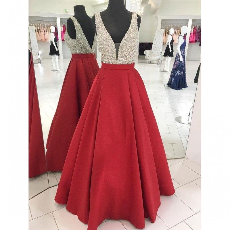 Satin Long Backless   Prom     Dresses   2019 V-neck Floor Length Beads Real Pictures Custom Made Vestido De Festa
