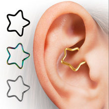 1pcs New Punk Fashion Ear Tragus Cuff Wrap Five Pointed Star Clip Nose Ring On Earring cartilage Non Piercing(China)