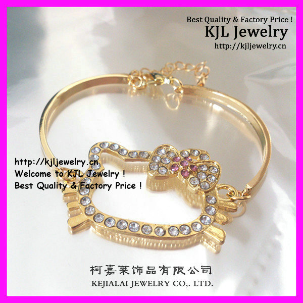 f083daaaf free ship hello kitty rhinestone bangle style bracelet for the fashion  girls open bangle 20pcs/lot