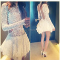 New Arrival Sexy White High Neck See Through Back Long Sleeves Short Lace Short Cocktail Dress Prom Gown Women Free Shipping