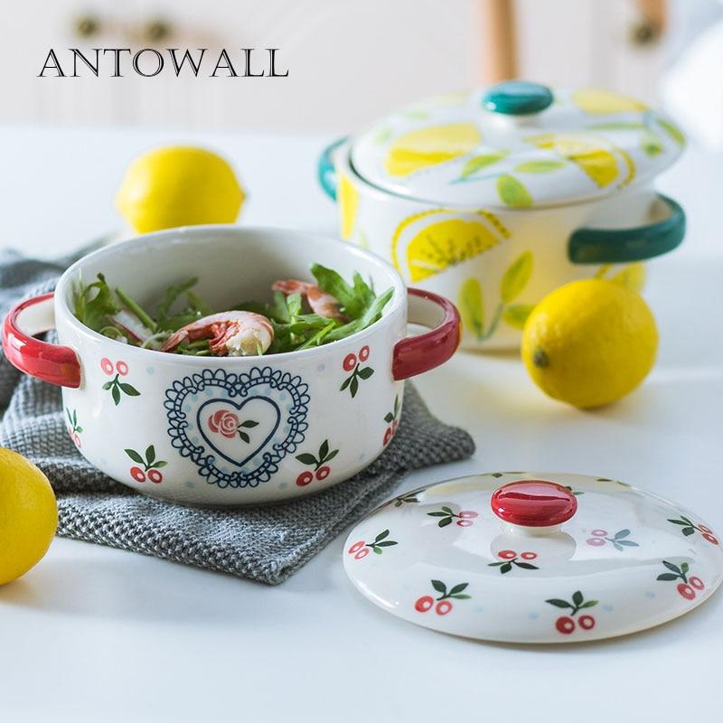 ANTOWALL bol à nouilles instantanées en cerisier peint à la main avec couvercle dortoir étudiant en céramique mignon bol à soupe double oreille