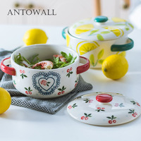 ANTOWALL Hand painted cherry instant noodle bowl with lid student dormitory ceramic cute double ear bowl soup bowl