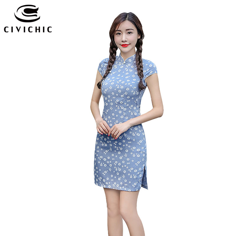 58a60df66b7 CIVICHIC 3 Colors Woman Floral Chinese Qipao Lady Cotton Cheongsam ...
