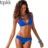 TQSKK 2017 New Sexy Halter Top Bikinis Women Swimwear Push Up Retro Female Swimsuit Bikini Set