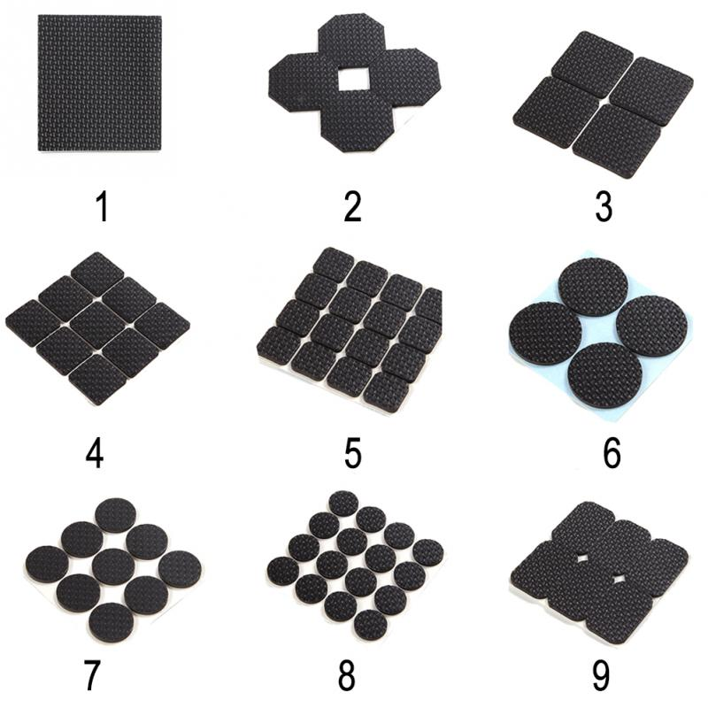 Adhesive Rubber Furniture Feet Floor Protector Pads Anti-Skid Scratch DIY Resistant Mats Table Legs Stools Chairs Protect