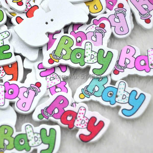10/50/100 piezas bebé botones de madera de 33mm costura artesanal mezclar lotes WB271