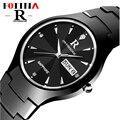 Fotina R Relógio Marca de Topo Homens Real Tungsten Aço Relógios de Pulso Preto Ouro Prata Tungstênio Relógio Ocasional Relogio masculino feminino