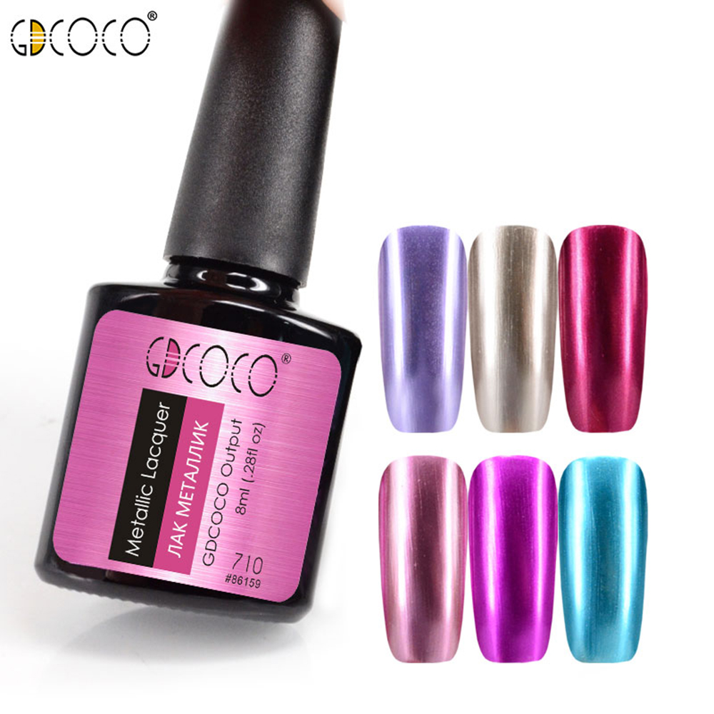 GDCOCO Metall nagellack Gel nagellack Soak Off UV LED Glitter Gel - Nagel konst