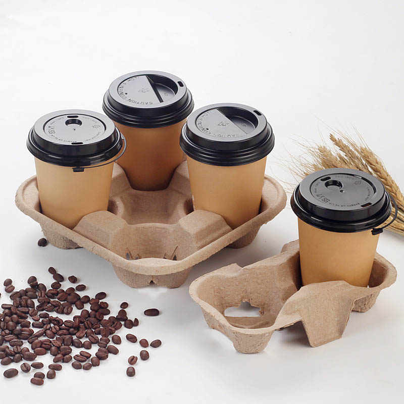 Disposable Paper Coffee Cup Holder Four Grids Take Away Drinks Shelf To-go Box Cafe Restaurant Packing Tools Holders 20pcs/set