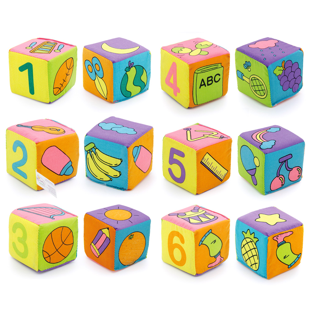 6st i 1 Set Cloth Building Blocks Nya Spädbarn Baby Cloth Doll Mjuk Rattle Tidig Utbildning Baby Toy Soft Plush Set Cube