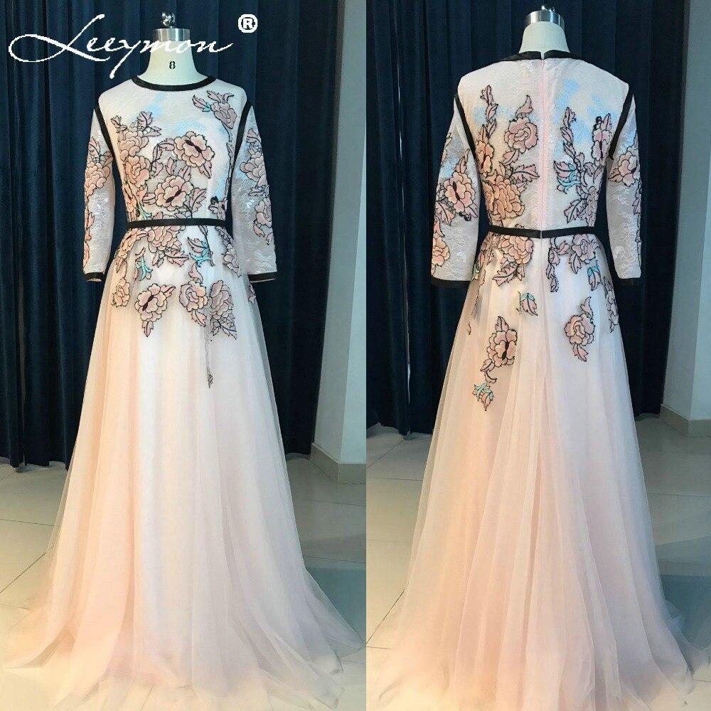 RE5 вишиті мереживні тюлі сукня 2018 плоть рожевий лінія партія плаття з довгим рукавом вечірні сукні з поясом халати де вечір  t