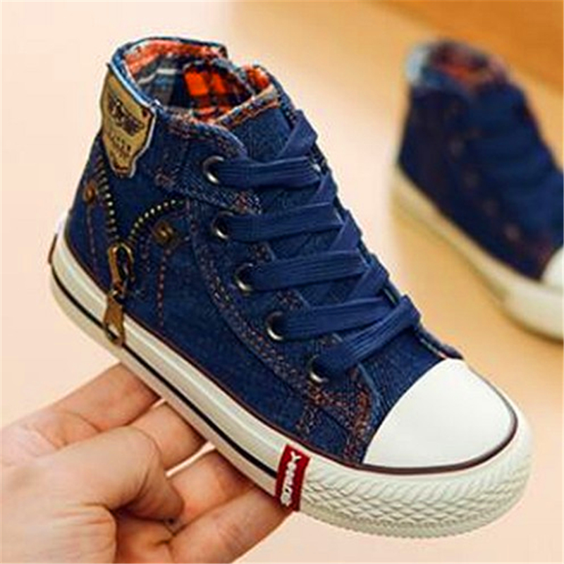 All Sizes 25-37 Canvas Children Shoes Sport Breathable Boys Sneakers Kids Shoes For Girls Jeans Denim Casual Child Flat Boots