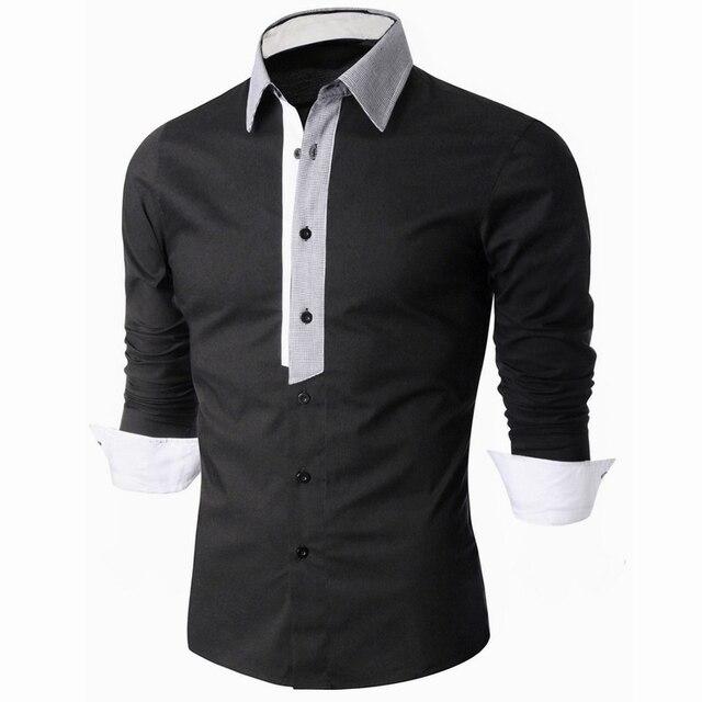 Размер Азии 2016 Случайные Рубашки Мужская Одежда с длинным рукавом социальной бренд бутик хлопок Западной кнопки белый черный
