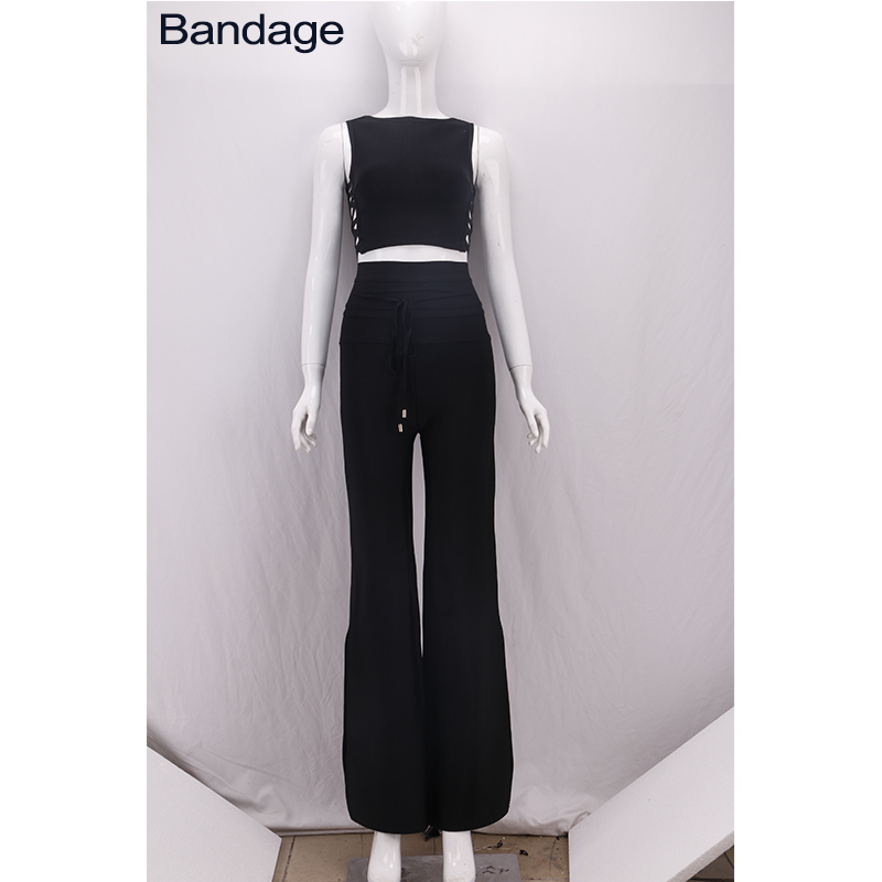 2019 High Quality Fashion Side Lace Up Crop Top Wide Legs Flare Bell Bandage Black Trouser